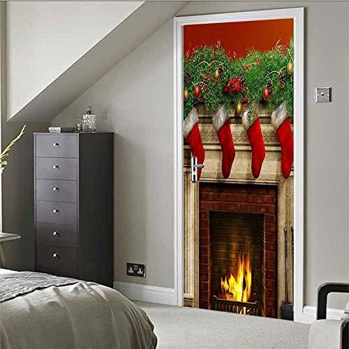 ZGSSSSS 3D Porta Sticker Calza Di Natale Con Camino Autoadesiva Carta Da Parati Per Porte Per Home Decor Wall Per Soggiorno Camera Da Letto Cucina Sfondo77 X 200Cm(30.3'' * 78.7'')
