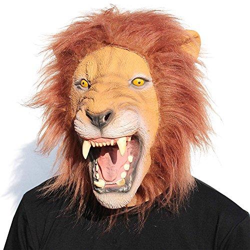 CreepyParty Halloween Kostüm Party Tierkopf Latex Maske Löwe Karneval Masken