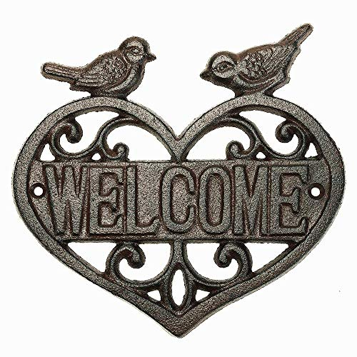 yunyu Vintage Cast Iron Heart Shape Wall Mount Welcome Sign | Wall Decor Welcome Tag | House Plaque Garden Bar Cafe Store Gate Door Sign Wall Mount Decoration,garden signs and plaques