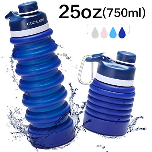 COOZOOM 25oz/750ml Collapsible Water Bottle BPA Free FDA Approved Food-Grade Silicone Leak Proof...