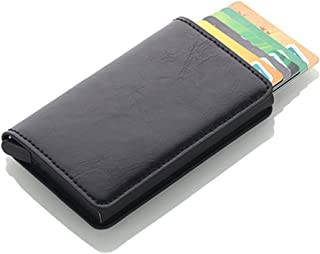 Antitheft Men Vintage Credit Card Holder Blocking Rfid Wallet PU Leather Unisex Security Information Aluminum Purse Black (black)