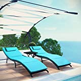 VICTONE 3 Pieces Patio Chaise Lounge Chairs Sets Outdoor Poolside PE Rattan Reclining Chair with Cushion and Folding Table (Blue)