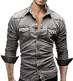 Lauriney Los Hombre De Camisa De Algodón Camisa Algodón De del Ajustado Vida de la Moda De Los Hombre De La Camisa Jeans Camisetas Casual Moda Primavera Tops Botones