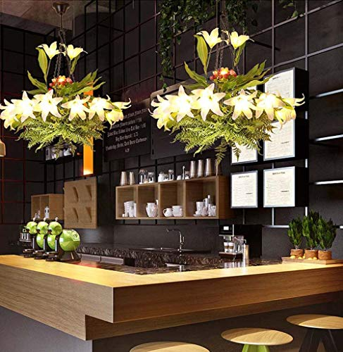 WarmHome Walnut Lane Flores Planta De Lirio Lámpara LED Decorativa Flores Verdes Bar Musical Moderno Restaurante Minimalista Lámpara 68 * 68cm