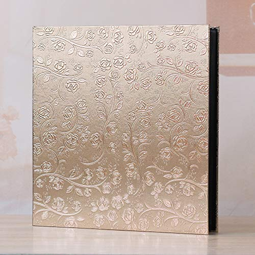 XIHOME Premium -Frame Cover Large Family Wedding Anniversary Baby Vacation Photo Album 600 Pockets Holds Bound Multi-Directional 4x6 Photos 5 Per Page- Large Capacity Deluxe Customizable(Golden Rose)