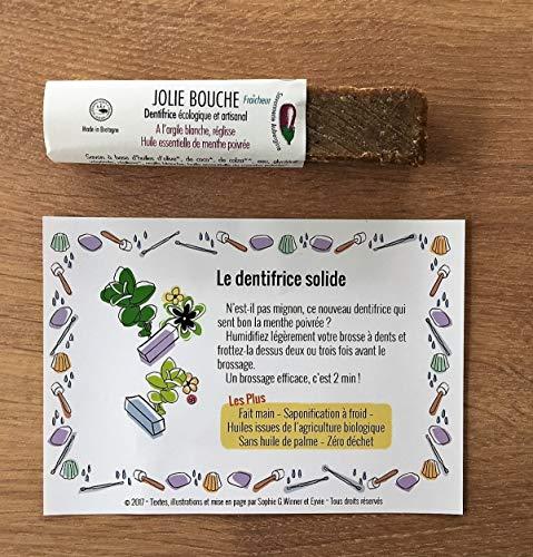 Dentifrice Solide Bio 30g, HE Menthe Poivrée, sans fluor, argile blanche & réglisse, utilisation 6 mois et plus.