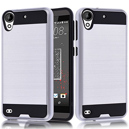 HTC Desire 530 Case, HTC Desire 630 Case,Kmall [Metal Brushed Texture] Slim Shock Absorption Dual Layer Full-Body Hybrid Heavy Duty Protective Case Skin Cover Shell for HTC Desire 530/630 [Silver]