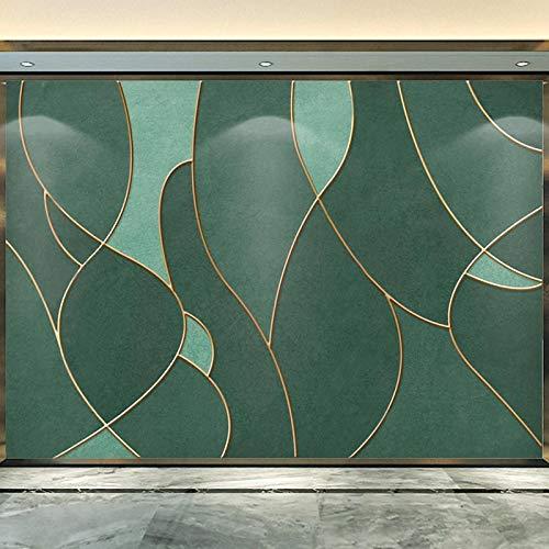 SDzuile Murales Decorativos Pared 3D Pegatinas Mural Líneas Verdes Simples Doradas 200X140Cm Mural De Dormitorio Sala De Estar Extraíbles Papel Pintado Tejido No Tejido Decoración De Pared