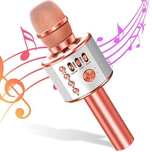 Micrófono de Karaoke Bluetooth Micrófono Inalámbrico 4 en 1 Altavoz de Karaoke Portátil, Micro Máquina para KTV, Karaoke, Niños y Adultos, Compatible con Android/iOS/PC (Rosado)