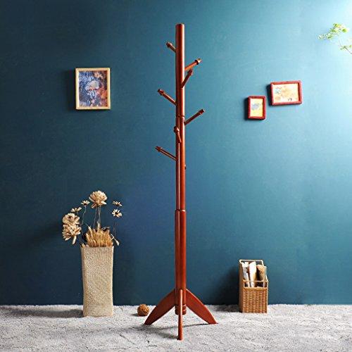 Dongyd - Perchero de madera maciza para el suelo, dormitorio, moderno y simple, atrevido, para ropa continental, color marrón