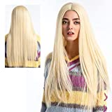 ATAYOU® Peluca Rubia Larga Lace Front - Long Straight Synthetic Lace Front Wigs Natural Straight Platinum Blonde Lace Front Wig For Women Heat Resistant Glueless Free Part Lace Wig