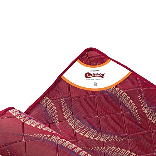Coir-On 'Fluffy' - Double Sided Thin Orthopedic Mattress for Sleeping, Travel & Picnic - 72X60X1 - Maroon