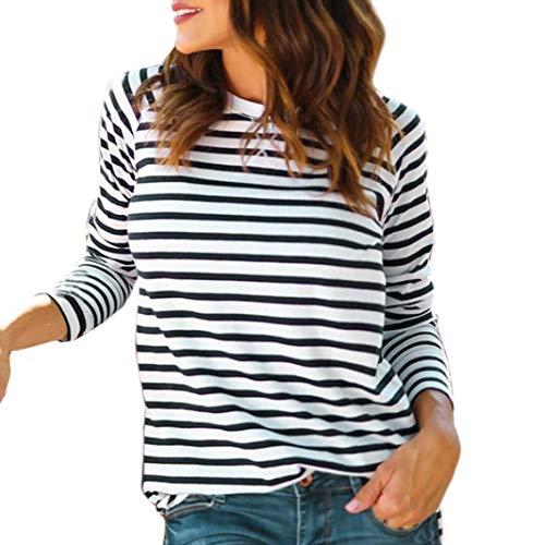 Bestow Camiseta a Rayas con Cuello Redondo y Manga Larga para Mujer Camiseta con Rayas a Rayas y Rayas Casual Mujer(Blanco,S)