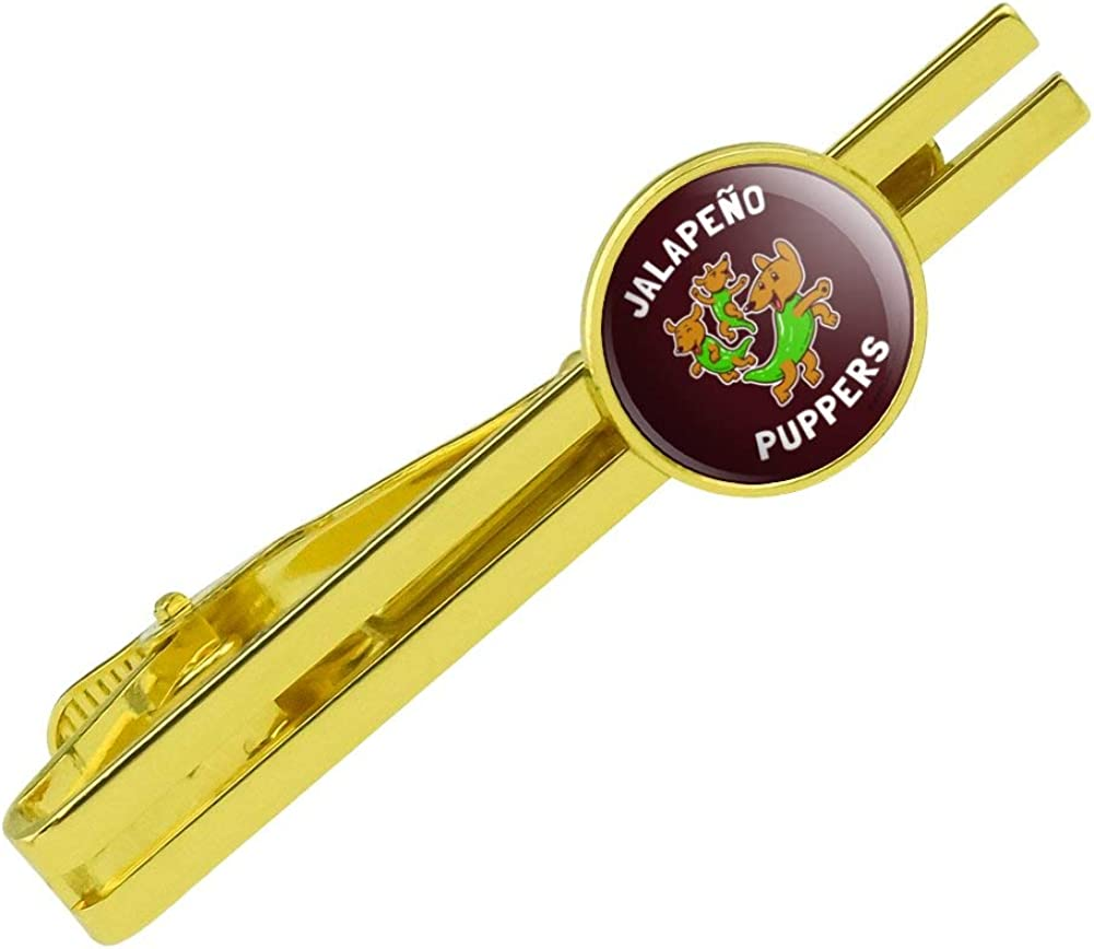 GRAPHICS & MORE Jalapeno Puppers Puppy Dog Poppers Funny Humor Round Tie Bar Clip Clasp Tack Gold Color Plated