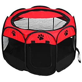 Yunnyp Pet Cat Dog Portable Foldable Cage Containment System,Exercise Play Tent Mesh Cover Indoor/Outdoor Use