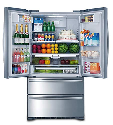 "Smad 36"" French Door Refrigerator 2 Drawer Freezer Stainless Steel with Ice Maker, 20.7 Cu.Ft."