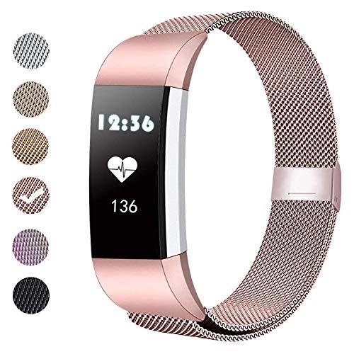 BeYself Compatible para Fitbit Charge 2 Correa, Mesh Loop Pulsera de Acero Inoxidable Correa con Único Imán Cerradura para Fitbit Charge 2