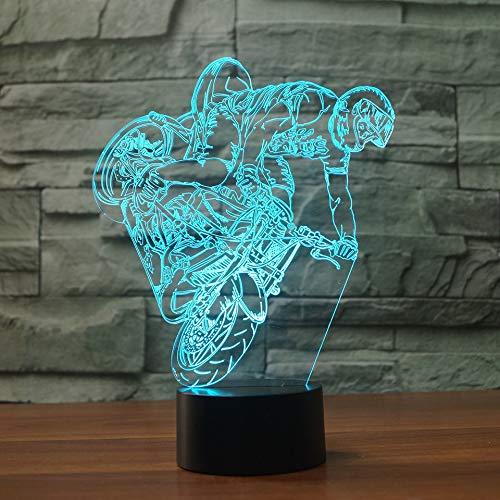 3D LED lámparas Moto Auto ilusion optica luz de noche 7 colores Contacto Arte Escultura luces con cables USB Lampara Decoracion Dormitorio escritorio mesa para niños adultos