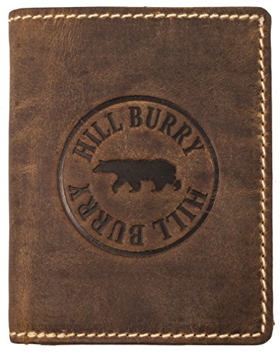 Hill Burry Geldbörse Herren Leder | Großes Portemonnaie aus echtem Leder | Hochwertiger Geldbeutel mit RFID-Schutz - Hochformat (Braun)