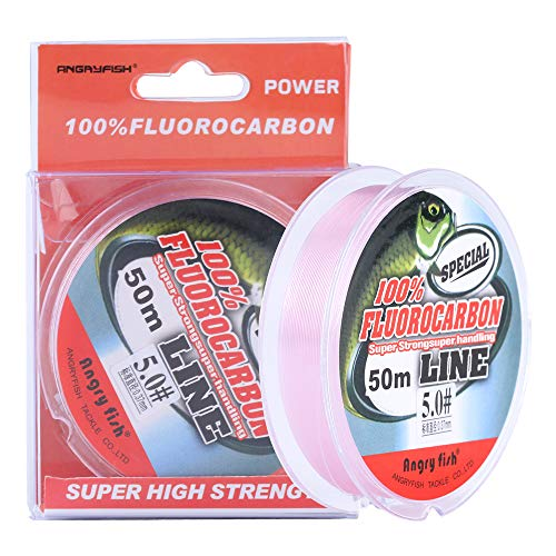 ANGRYFISH 100% Fluorocarbon Fishing Line-Invisible Underwater-Faster Sinking- Ultralow Stretch-Fishing Leader Line 2-30LB(Pink,30LB/0.467MM-55YD)