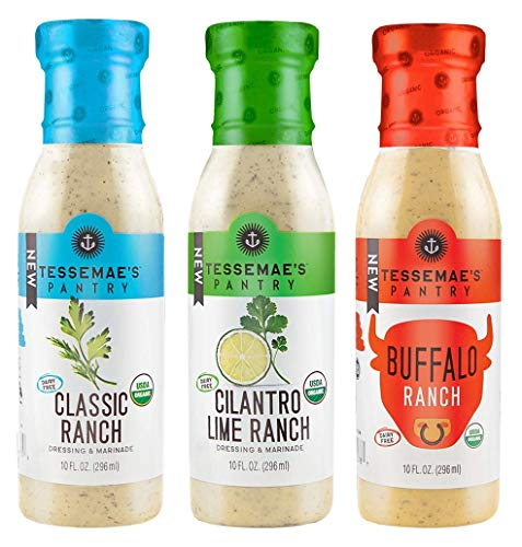 Tessemae's Pantry Ranch Variety Pack - Classic Ranch, Cilantro Lime Ranch, Buffalo Ranch - 10 fl oz. bottles (3-Pack)