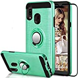 Compatible for Samsung Galaxy A10E / A20E Case, Suordii Slim 360 Degree Rotation Metal Ring Holder Cover with Tempered Glass Screen Protector (Mint Green)