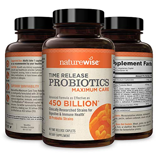 NatureWise Max Probiotics for Men & Women | Time-Release Caplets Comparable to 450 Billion CFU with 30 Strains, WiseBiotics Technology, Shelf Stable, & Acid Resistant [1 Month Supply - 40 Caplets]