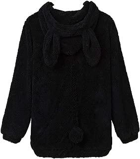 Women Bear and Rabbit Ear Shape Coat Zipper Fuzzy Fleece Jacket Hooded Cardigan Coat