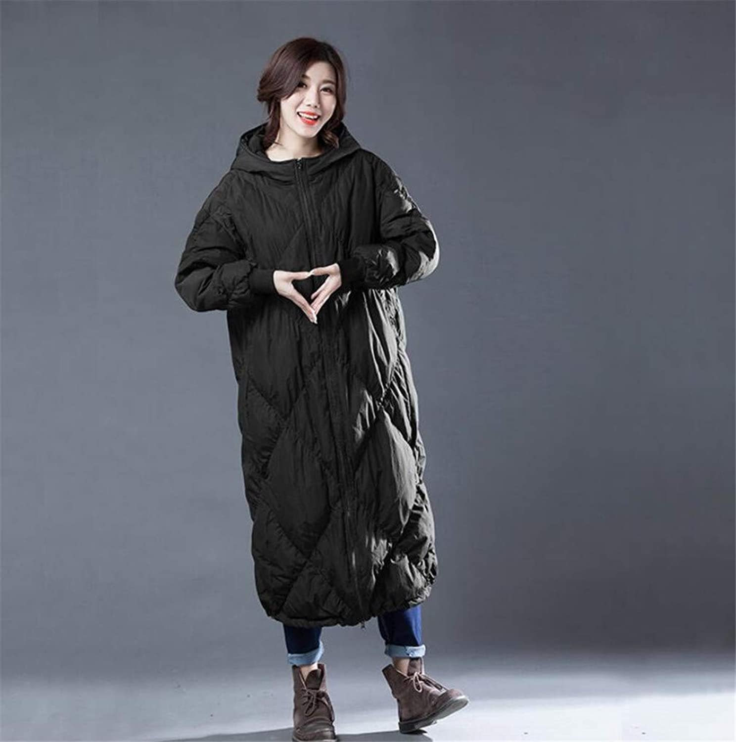 Women Down Coat Down, Europe and America Simple Zipper White Duck Down Padding Keep Warm Comfortable Down Jacket