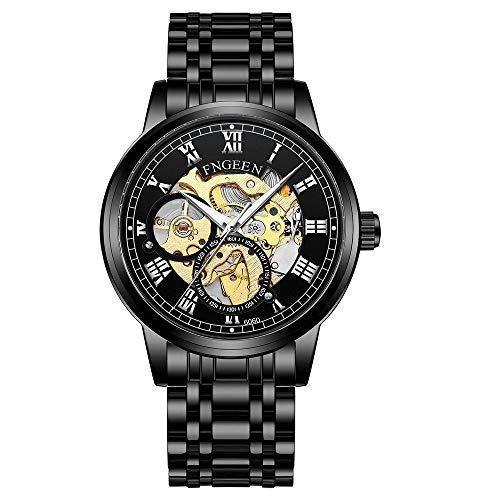Reloj de Pulsera mecánico automático Elegante Esfera Minimalista Casual Clásico para Hombre Esqueleto Impermeable Luminoso -D