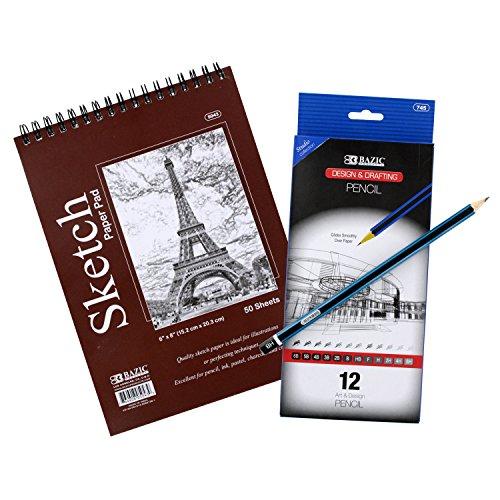 Bazic 6 x 8 Top Bound Spiral Premium Sketch Pad with Pencils