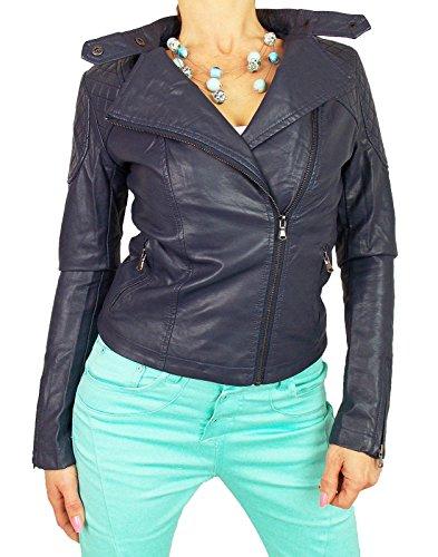 si moda dames sexy biker kunstlederen jas jas blauw overgang jas lederlook