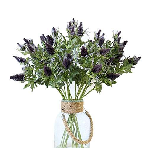 LebriTamFa Artificial Flowers Artificial Thistle Spray Eryngo Fake Eryngium Foetidum Simulation Sea Holly for Wedding Bouquet Centerpiece Home Decor (Purple Gray, 3)