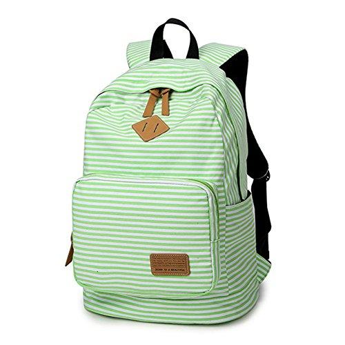 Artone Banda Scuola Borsa Daypack Casuale Zaino Con Scomparto Laptopt Bianco Verde
