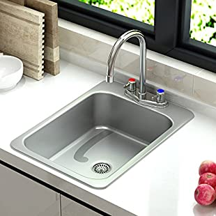 1 x Stainless Steel Counter Top Sunk Inset Hand Wash Sink Waste, Plug & Tap (TYPE A):Labuttanret