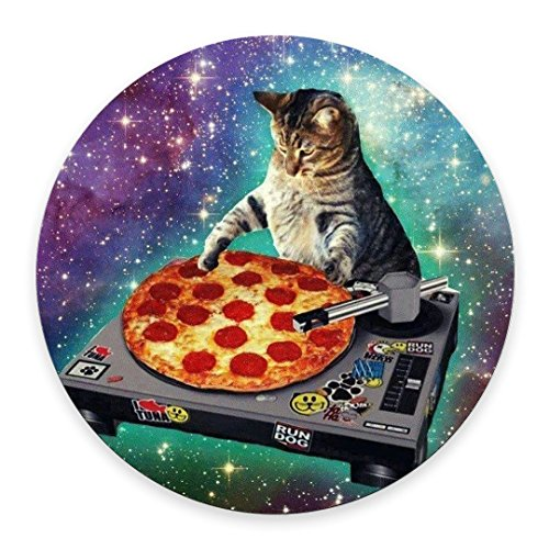 New Top Funny Space Cat and Pizza Round Non-Slip Rubber Mouse Pad Mousepad Mat