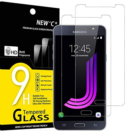 NEW'C 2 Unidades, Protector de Pantalla para Samsung Galaxy J7 2016, Antiarañazos, Antihuellas, Sin Burbujas, Dureza 9H, 0.33 mm Ultra Transparente, Vidrio Templado Ultra Resistente