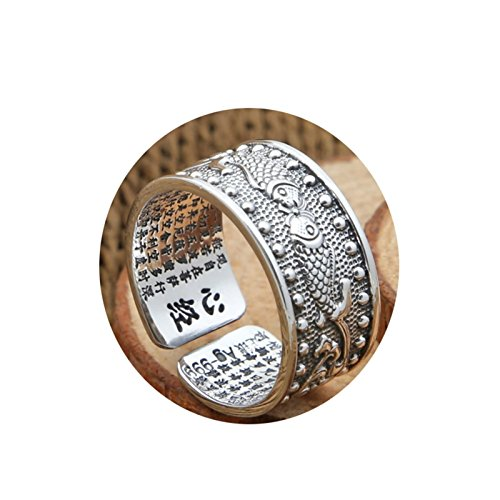 AnazoZ Jewelry 925 Sterling Silver Rings Wedding Bands Women Men Ring Pisces Heart Sutra Ring Silver Ring Size P 1/2
