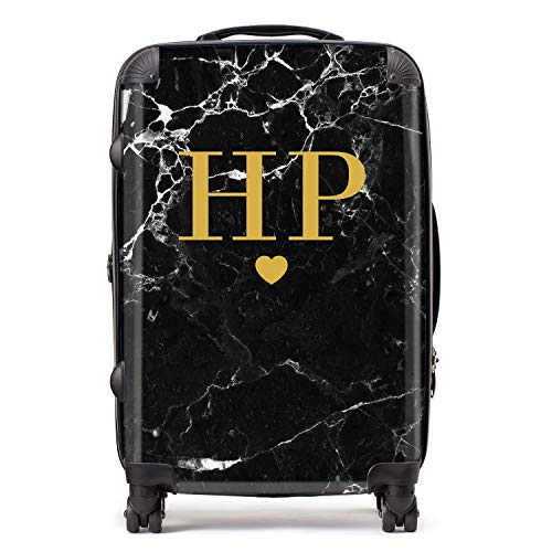 Personalised Black & Gold Marble Initials & Heart Monogram Custom Suitcase with TSA Lock 4 Spinner Wheels Luggage 68cm 80Ltr