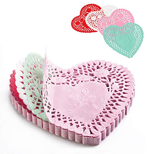 Mini Valentine's Heart doilies 4 inch, Crafts for Kids and Fun Home Activities Colors Red, Pink, White, and Blue(100 pcs)