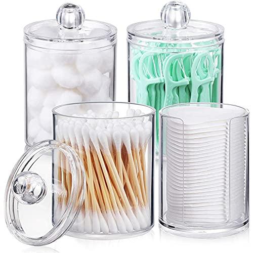 Vanity Makeu Lot de 4 pots d'apothicaire en plastique transparent pour boules de coton, cotons-tiges, tampons ronds, fils dentaires