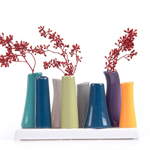 Chive - Pooley 2, Unique Rectangle Ceramic Flower Vase, Small Bud Vase, Decorative Floral Vase for Home Decor, Table Top Centerpieces, Arranging Bouquets, Set of 8 Tubes Connected (Emerald Green Blue)