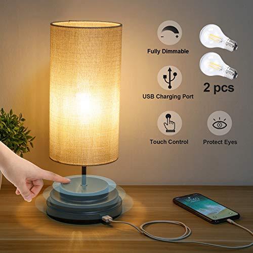 Kohree Tischlampe E27 Touch Dimmbar Nachttischlampe mit USB Ladefunktion für Schlafzimmer, Moderne Schreibtischlampe aus Stoff Berührungssensor Nachttischlampe Nachtlicht inkl. Birne für Kinderzimmer