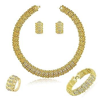 MOOCHI Women 18K Gold Plated Bling Wide Chain Necklace Rhinestone Costume Jewelry Sets Fashion Bracelet Earrings Ring Statement