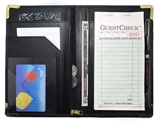 Waitress Server Book Wallet - Restaurant Waiter Notepad - Money Organizer - Order Pad - Holds Guest Check Books - Zipper - Pen Holder - 10 Pockets  Black with Gold Corners - 5 x 8 Inch