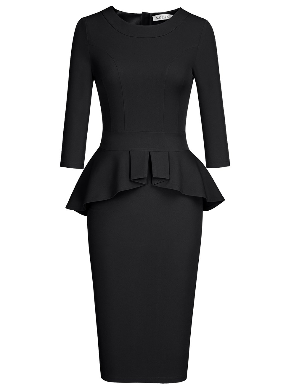 Available at Amazon: MUXXN Women's Crew Neck Peplum Knee Length Party Pencil Dress