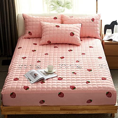 ALRZ Juego de sábanas de algodón Cilp acolchado con 2 fundas de almohada de 3 piezas antideslizante de excelente calidad