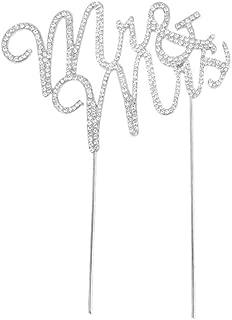 Glammazing LLC Custom Monogram Mr & Mrs Silver Rhinestone Cake Topper Wedding Cake Decoration Large Size
