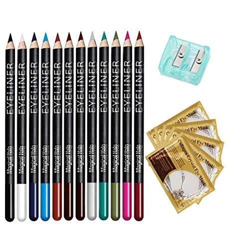 Eyeliner Pencil Makeup Kit 12 Assorted Colors Natural Matte Long Lasting Eye Liner Set with Sharpener & 10 Eye Masks