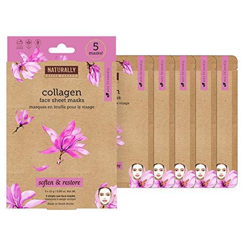 Naturally 30 Restoring Collagen Infused Sheet Masks-5 Masks Included, 1 Count